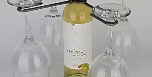 Wine Bottle Four Stem Contemporary Holder-Pewter-2