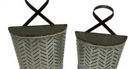10292 Set of 2 Metal Olive Buckets