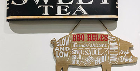 Wood BBQ Rules Wall Plaque Pig