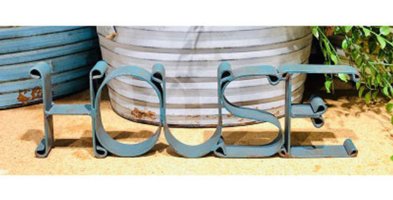 HOUSE Cutout Sign-Distressed Turquoise-16138