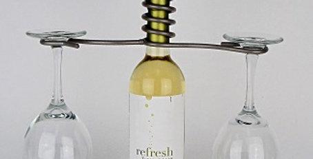 Wine Bottle Two Stem Candle Holder-Pewter-29075