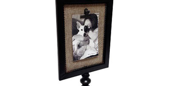 Burlap Pedestal Photo Clip Black