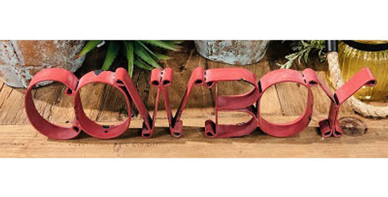 10159 COWBOY Cutout Sign-Distressed Red-23134