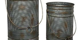 50044 Set of 2 Mesh Vase/Lantern with Handle