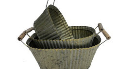31019 Set of 3 Fluted Oval Planters