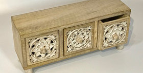60050 Carved Wood 3 Drawer Chest