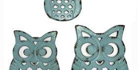 695561 WALL DECOR(OWL)S/3-METAL