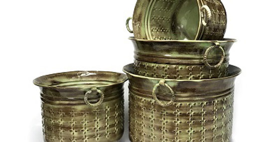 Set of 4 Embossed Stitch Weave Planters