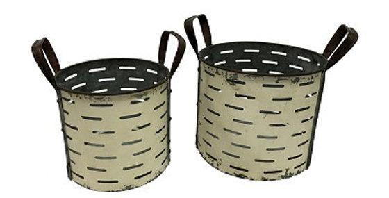 Set of 2 Deep Round Metal Olive Bucket-Shabby Chic