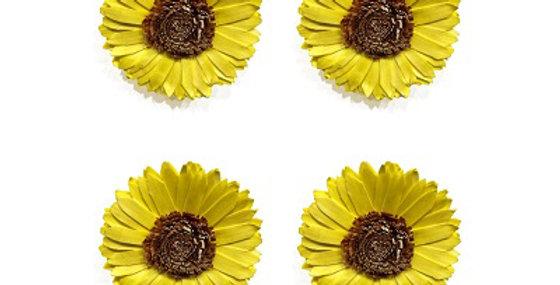 Set of 4 Sunkist 4 inch Sunflower Magnet