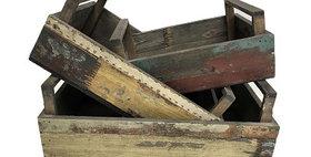 31003 Set of 3 Reclaimed Wood Rectangle Slat Trays