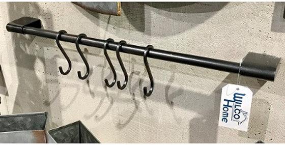 64036 Maxim Wall Towel Bar with 5 Hooks -Steel Grey