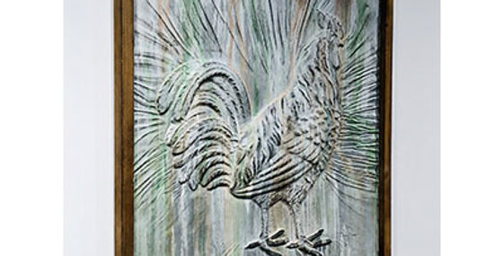 Wood Framed Embossed Metal Rooster Wall Decor