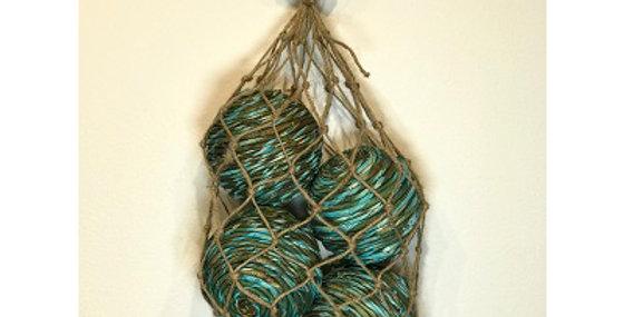 41086 4 Shola Rope Ball 4in Seafoam in Jute Bag
