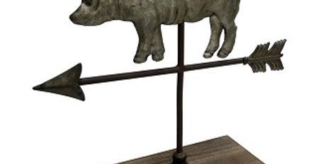 Pig Weathervane Figure on Wood Stand
