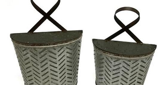 Set of 2 Metal Olive Buckets