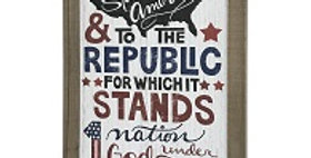 33014 Wood Pledge of Allegiance Wall Plaque