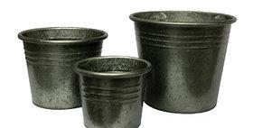 50020 Set of 3 Graphite Flower Buckets-