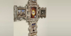 74035 3-Component Cross Wall Frame/Whitewashed