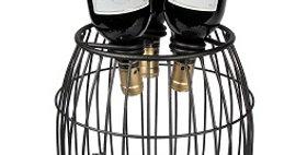 89608 Mesh 3 Bottle Wine Barrel-Textured Bronze-19608