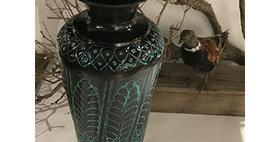 52020 Large Tecumseh Vase-Turquoise/Black