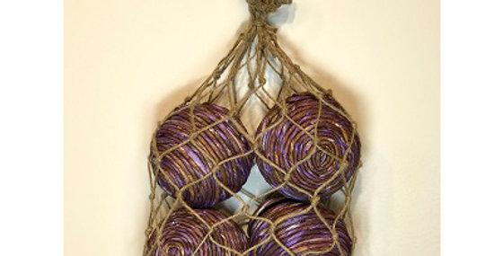 4 Shola Rope Ball 4in Violet in Jute Bag