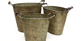 69012 Set of 3 Dbl Wood Handled Oval Buckets