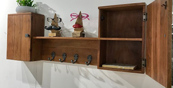 53020 Moderno Two Door Wall Cabinet with Hooks