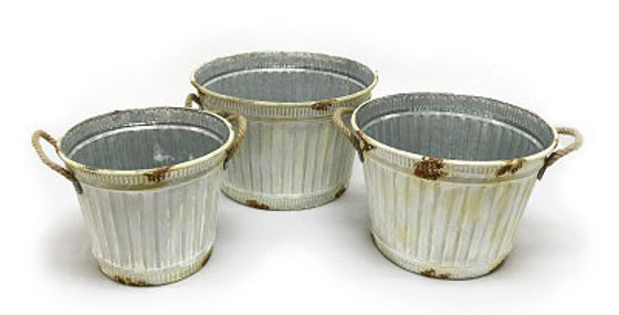 Set of 3 Corrugated Tin Planter Buckets-sc