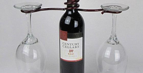 Wine Bottle Two Stem Holder-Merlot-28076