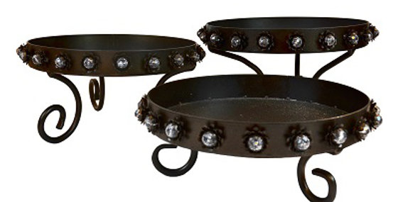 Set of Three Rose Design Display Trays-Textured Br