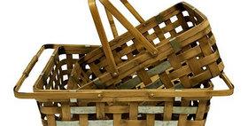 10244 Set of 2 Rectangle Bamboo Drop Handle Basket