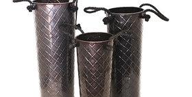 66003 Set of 3 Glossy Bronze Rope Handled Flower Buckets