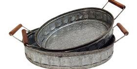 10173 Set of 2 Wood Handle Oval Trays