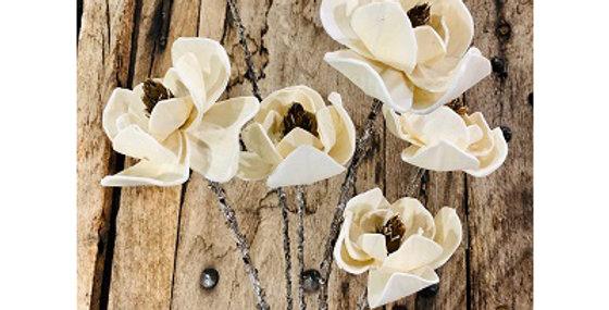 6 Stem White Dogwood Flower Branches