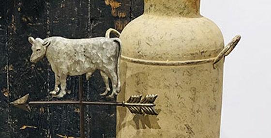 Cow Weathervane Figure on Wood Stand