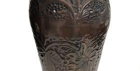 69003 Embossed Floral Copper Vase