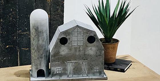 Metal Barn-Silo Birdhouse-White Washed