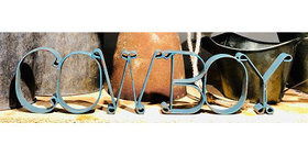 10158 COWBOY Cutout Sign-Distressed Turquoise-16134