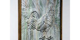 22003 Wood Framed Embossed Metal Rooster Wall Decor