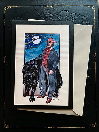 Cowboy and Werewolf Greeting Card