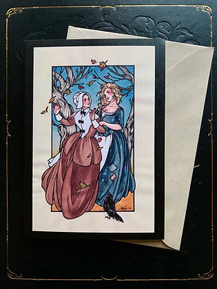 Witch and Puritan Greeting Card