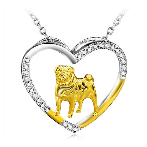 Pug Heart Necklace