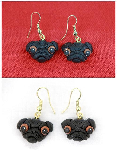 Black Pug Earrings
