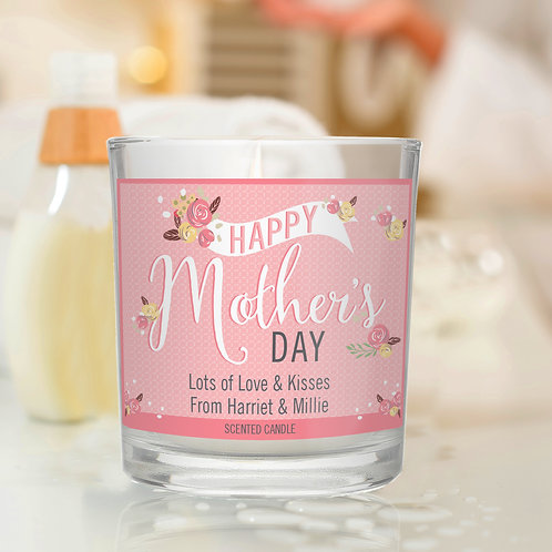 Personalised Floral Bouquet Mother's Day Scented Jar Candle (PMC)