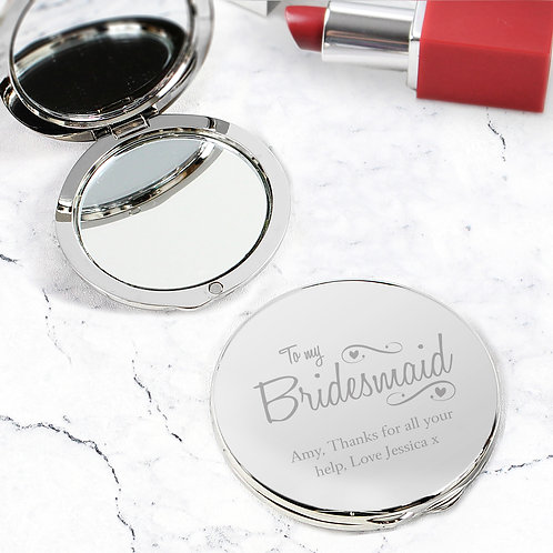 Personalised Bridesmaid Swirls & Hearts Compact Mirror (PMC)