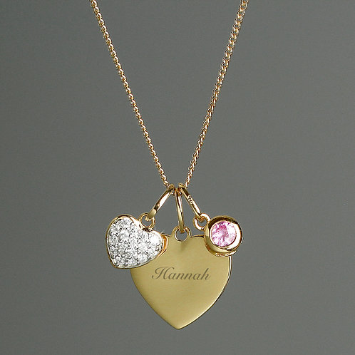 Personalised Sterling Silver & 9ct Gold Heart Necklace (PMC)