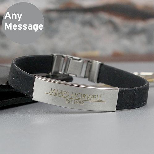 Personalised Classic Stainless Steel Men's Black Bracelet (PMC)
