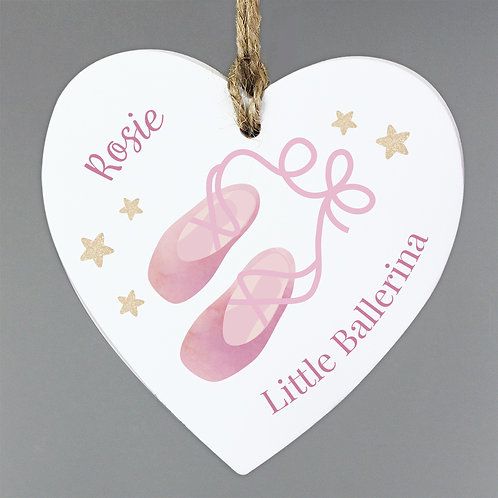 Personalised Swan Lake Ballet Wooden Heart Decoration (PMC)