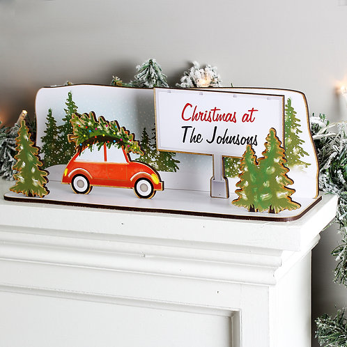 Personalised Driving Home For Christmas Wooden Scene (PMC)